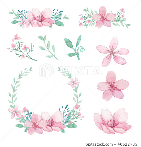 Vector Set of flowers and leaves arrangements 40622735