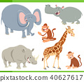 wild animals cartoon characters set 40627617