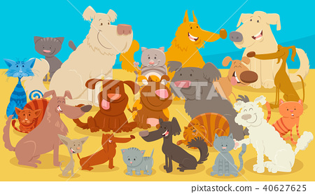 dogs and cats cartoon animal characters 40627625