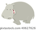 funny cartoon hippopotamus animal character 40627626