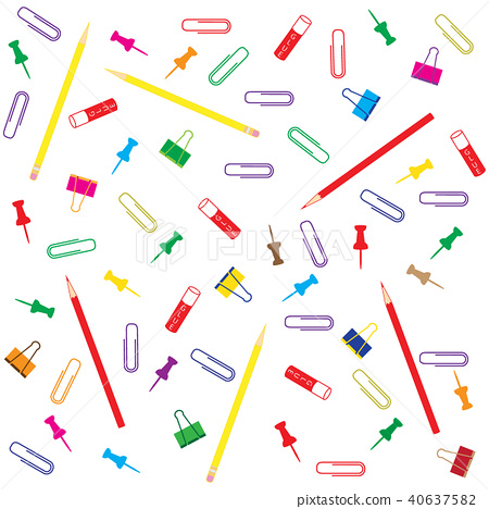 different colored paper clips and buttons, pencil 40637582