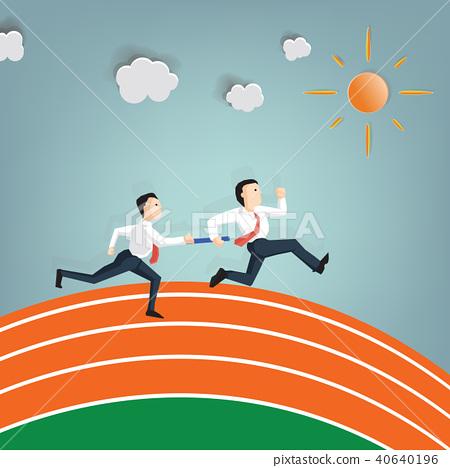 Relay race handing over of businessman 40640196