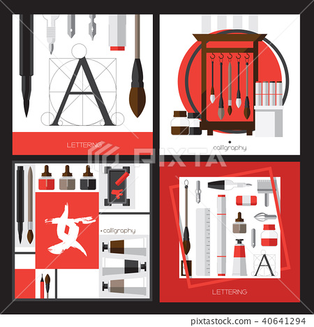 Vector collection with cards about calligraphy 40641294