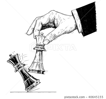 Vector Artistic Drawing Illustration of Hand Holding Chess King and Knocking Down Checkmate. 40645155