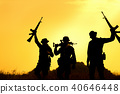 Military soldier holding weapons after get victory 40646448