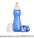 Blue baby bottle and pacifier 3D 40647224