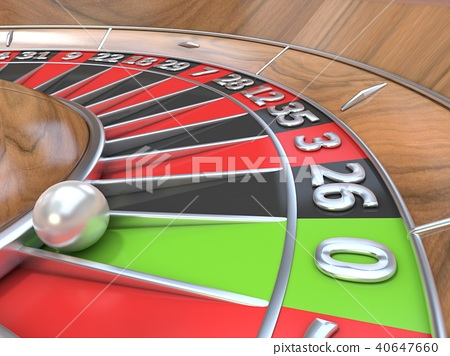Macro view of a roulette table. Green zero. 3D 40647660