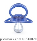 Blue baby pacifier front view 3D 40648070