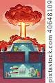 Vector cross section of nuclear shelter, explosion 40648109