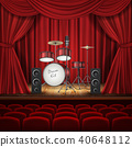 Vector background with drum kit on empty stage 40648112
