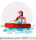 Woman in boat caching a fish 40657113