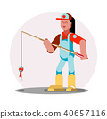 Woman standing with fishing rod 40657116