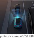 應用自動制動以避免追尾事故的插圖。汽車製動概念 40658580
