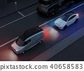 應用自動制動以避免追尾事故的插圖。汽車製動概念 40658583