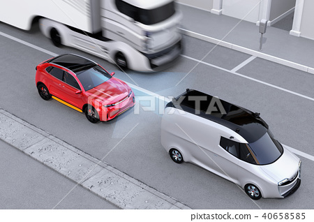 應用自動制動以避免追尾事故的插圖。左手自動制動概念(右轉向) 40658585