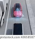 應用自動制動以避免追尾事故的插圖。左手自動制動概念(右轉向) 40658587