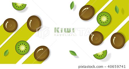 Fresh kiwi fruit background in paper art style 40659741