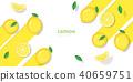 Fresh lemon fruit background in paper art style 40659751
