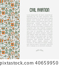 Civil aviation concept contains thin line icons 40659950
