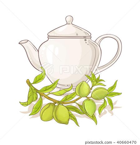 apricot tea in teapot 40660470