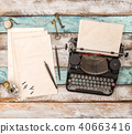 Vintage typewriter used paper sheets Flat lay  40663416