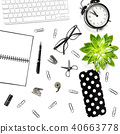 Office table Flat lay Keyboard notebook supplies  40663778