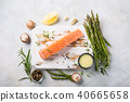 fresh green asparagus and raw salmon fillet 40665658
