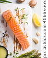 fresh green asparagus and raw salmon fillet 40665665
