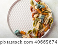 raw spelt flour assorted colorful pasta 40665674