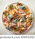 raw spelt flour assorted colorful pasta 40665682
