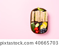 School wooden lunch box with sandwiches 40665703
