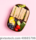 School wooden lunch box with sandwiches 40665706