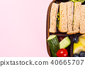 School wooden lunch box with sandwiches 40665707