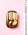 School wooden lunch box with sandwiches 40665711