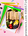 School wooden lunch box with sandwiches 40665714