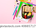 School wooden lunch box with sandwiches 40665717