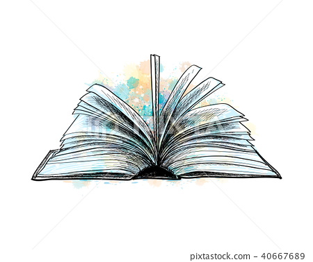 open book hand drawn sketch - Stock Illustration [40667689