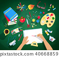 Vector illustrations set of artist workplace  40668859