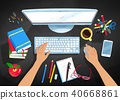 Vector illustrations set of office workplace 40668861