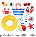 Vector set of seaside holiday items 40668864