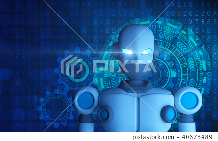 Portrait of Robot with HUD graphic, artificial 40673489