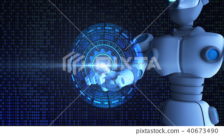 Robot finger touching HUD graphic, artificial 40673490