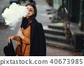stylish girl smoking an e-cigarette 40673985