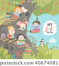 Happy children reading books in the treehouse 40674081