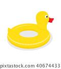 Yellow rubber duck swimming circle 40674433