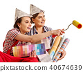 Repair home women holding Bank with paint for wallpaper. 40674639