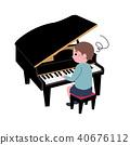 어린이 피아노 곤란 일러스트 40676112