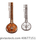 Vector sketch sitar musical insturment icon 40677151