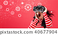 Gears with woman using a virtual reality headset 40677904