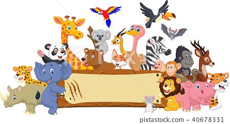 Cartoon animal with blank sign 40678331